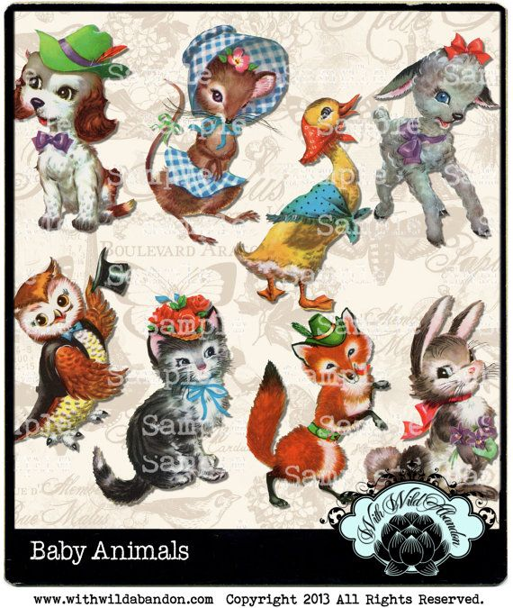 Baby Animal Clipart Sweet Vintage Images Cat Owl Bunny