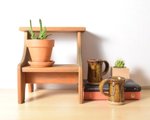 Wood Step Stool with Two Steps Handmade Stool by PattyMoraVintage