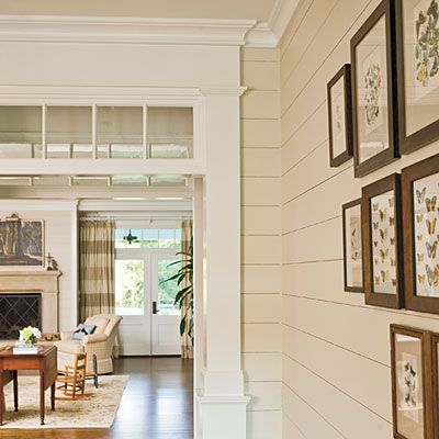 plank walls hall and beautiful transom window bulkhead...may need to do this