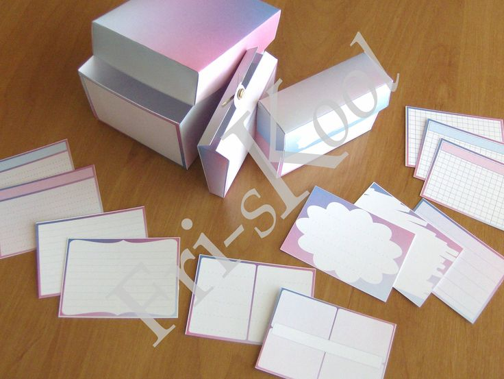 Study Helpers - Notecards Blue-Pink -  10 different designs 2 colors 3 box sizes