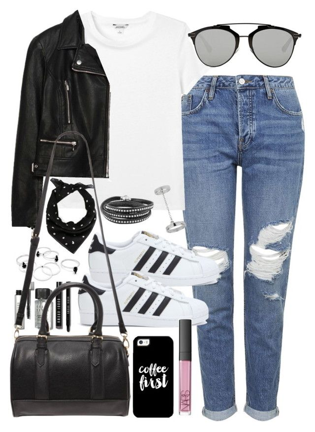 """""""Outfit with boyfriend jeans and Adidas superstars"""" by ferned on Polyvore featuring Topshop, Monki, Zara, Bobbi Brown Cosmetics, Christian Dior, adidas, Forever 21, Yves Saint Laurent, Casetify and NARS Cosmetics"""