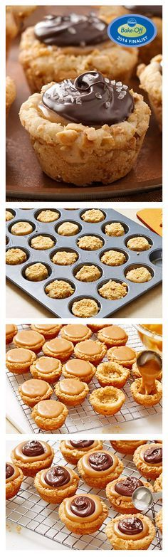 47th Bake-Off Contest Finalist: Salted Caramel-Cashew Cookie Tarts by Natalie Morales (using refrigerated Pillsbury sugar cookie dough)