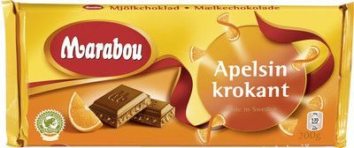 Marabou Orange Brittle Bar 200 g ( 7.0 oz ) Made in Sweden