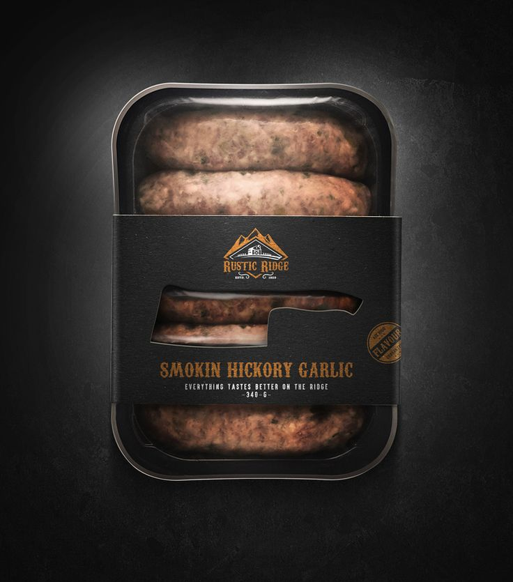 """Everything Tastes Better On The Ridge."" Rugged and tough, Rustic Ridge is changing the way that consumers think about high-quality meats. Jablonski Marketing teamed up with Paweł Skupień to create identity and packaging for this new brand."