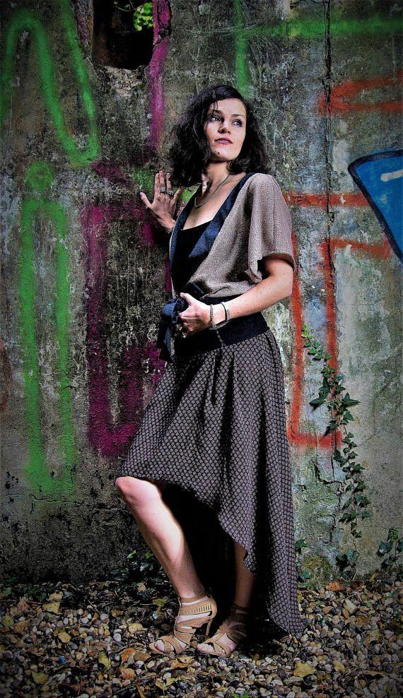 Jupe femme longue et asymétrique, prune /violine, bohème et romantique! ceinture taille haute, bohochic, bohemian, jupe glamour, boho boheme