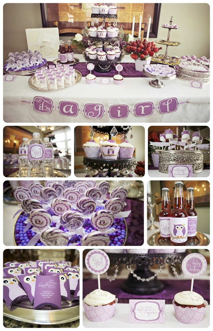 Forget pink, GORGEOUS lavender baby shower.  Love this!  By BluGrass Designs (www.blugrassdesigns.com)