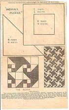 Indiana Puzzle Patchwork Original Newspaper Kansas City Star Quilt Block Pattern
