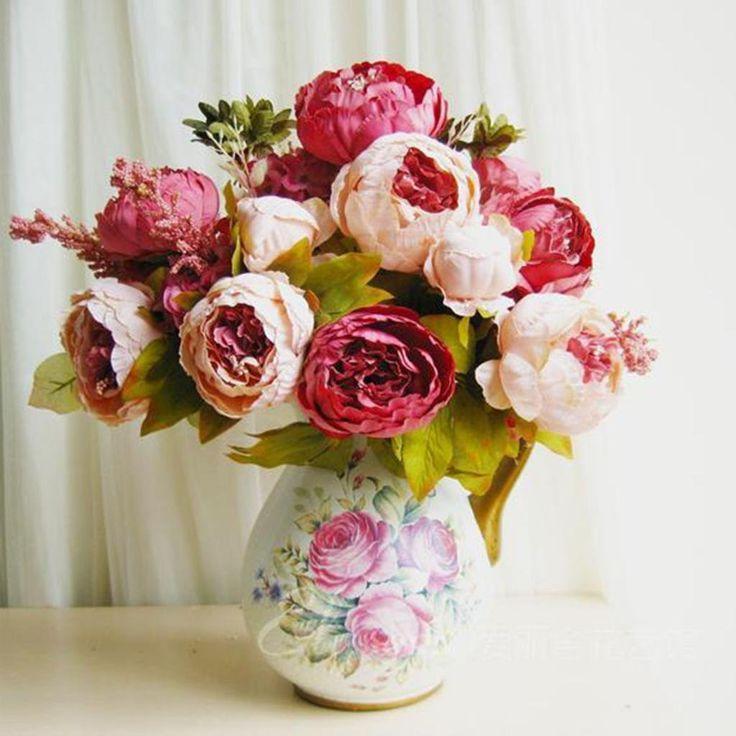HuaYang Schön Künstlich Blumen Pfingstrosen Künstliche Blume Blumenstrauß Für Hochzeit Party Fest Haus Büro Bar Dekor (Pfirsich): Amazon.de: Küche & Haushalt