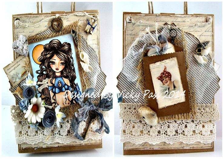 Hannah Lynn - Violet digi image gift bag front & back of altered gift bag using Pion Shoreline Treasure papers.
