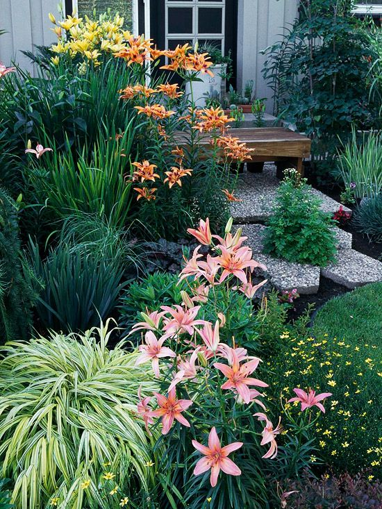 More Analogous Ideas This lovely trio of lilies gently steps around one side of the color wheel for a lush pastel combination that showcases the calmer, cooler side of orange, pink, and yellow.