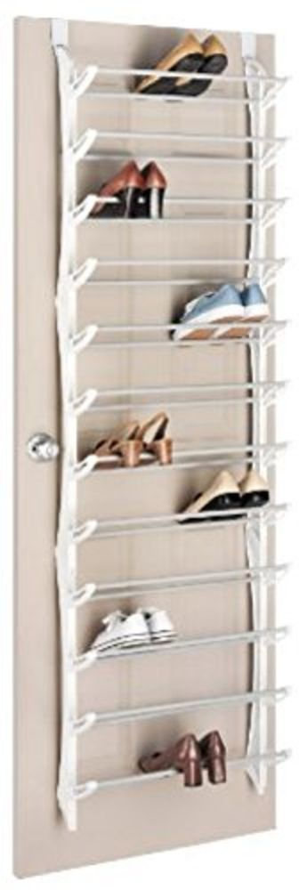 New Whitmor White Over The Door Shoe Rack Hanging Organizers 36 Pair Storage