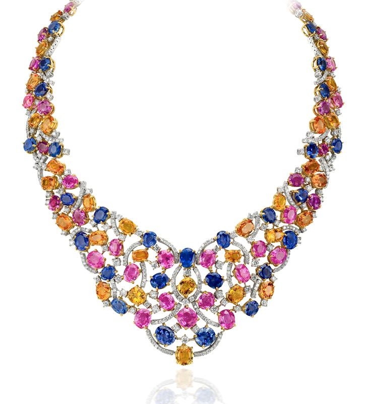 Andreoli multicolor sapphire and diamond necklace #brittspick @andreoliusa