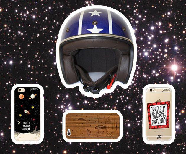 Capacete Urban Helmets (R$ 599); capinhas de Iphone: a do meio é Paubrasil (de R$ 120 a R$ 140) e as duas das extremidades são Gocase (de R$ 49,90 a R$ 59,90)