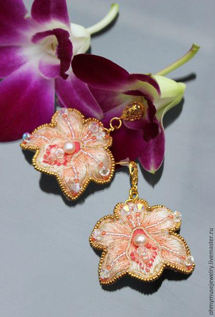 Серьги орхидеи, летние серьги, цветочные серьги, ручная вышивка #embroidery