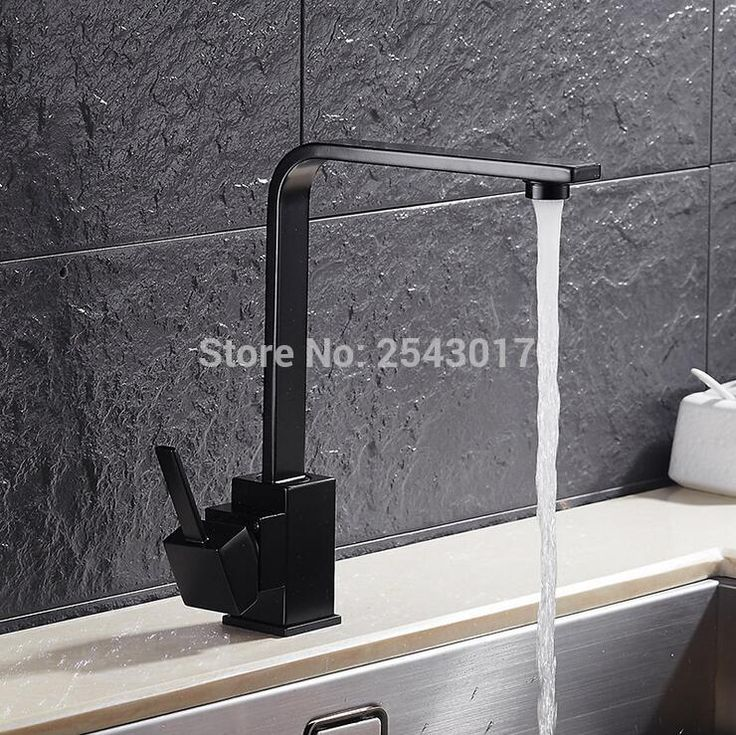 Luxury Swivel Faucet Kitchen Square Black Mixer Tap Elegant High Quality Deck Mounted Hot and Cold Basin Mixer Crane ZR349 bathroom tile