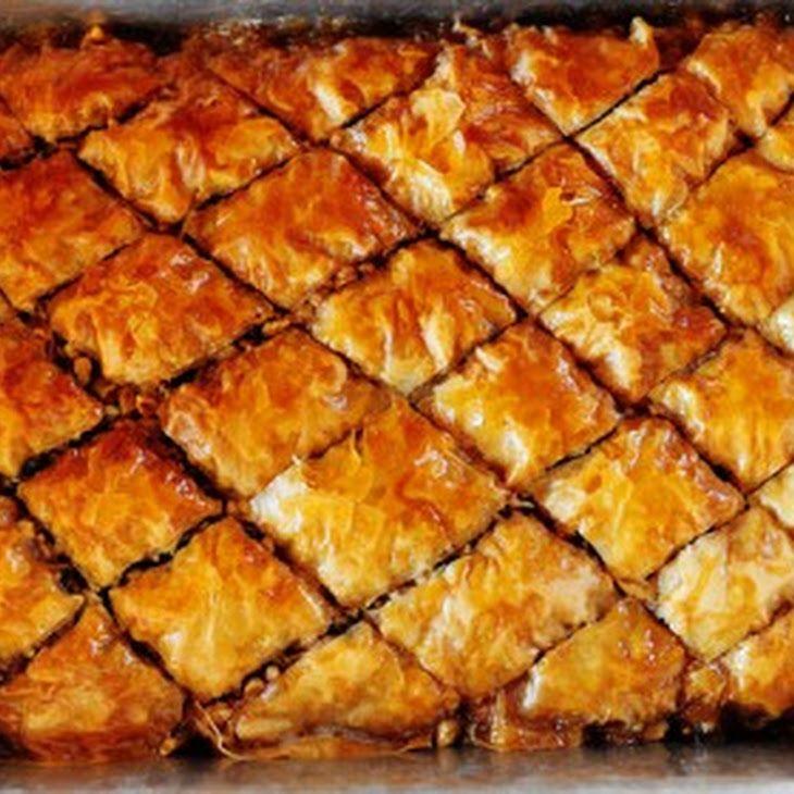 Baklava Recipe Desserts with phyllo dough, chopped walnuts, cinnamon ...