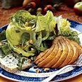 Honey-Roasted Pear Salad with Thyme Verjus Dressing from Bon Appetit is an outstanding salad, worth the effort!