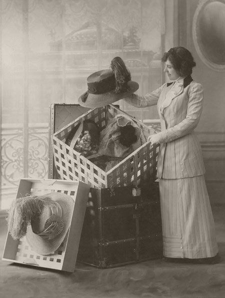 c. 1910 An example of a special trunk for transporting hats, from Louis Vuitton's archives. Other special trunks expanded into desks, dressers or ev...
