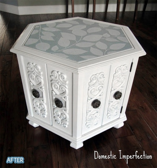New twist on an old end table. Sure I have an old one sitting around in the basement.