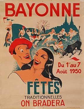 Toutes les affiches des fêtes de Bayonne de 1932 à 2014 Photo....reépinglé par Maurie Daboux ❥•*`*•❥