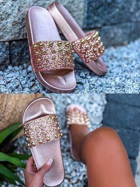 15036a666c Trendy gold ružové šľapky MN20142RG