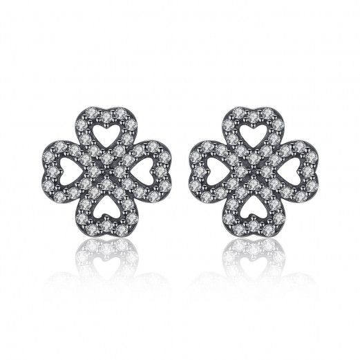 925 Sterling Silver 4 Leaf Clover Cubic Zirconia Stud Earrings Jewellery Gift