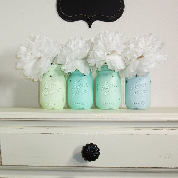 4  Hand Painted Pint Mason Jar Flower Vases Seafoam Collection Two Country  Decor