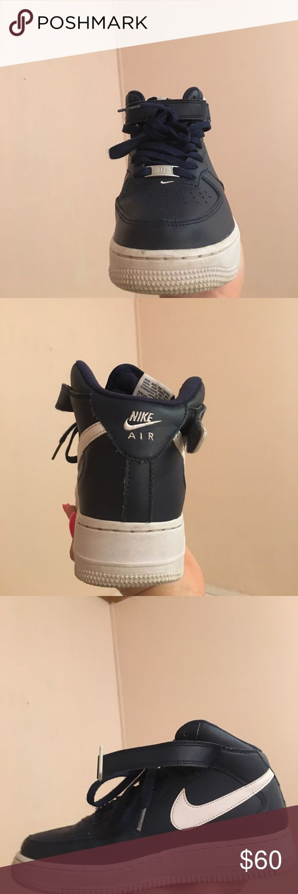 NIKE AIR FORCE ONE NAVY BLUE MID TOP Worn a few times in nearly perfect condition ,Boys grade school size 7 Nike Shoes Sneakers