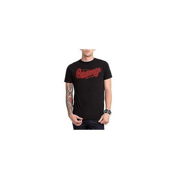 Paramore Baseball Logo T-Shirt | Hot Topic ❤ liked on Polyvore featuring tops, t-shirts, logo tops, baseball style t shirts, logo tee, baseball t shirt and logo t shirts