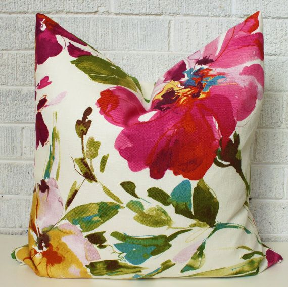 Pop of colour anyone?  This listing is for one pillow cover in the most vibrant and colourful large scale watercolour floral! Colours include fuchsia,