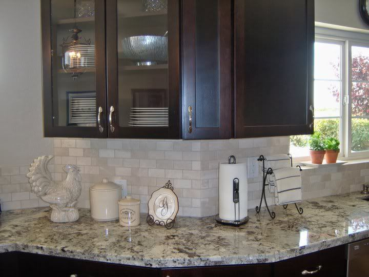 alaska white granite countertops with dark brown cabinets and a light
