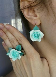 Check out this item in my Etsy shop https://www.etsy.com/ru/listing/293756493/mint-roses-set-mint-rose-mint-jewelry