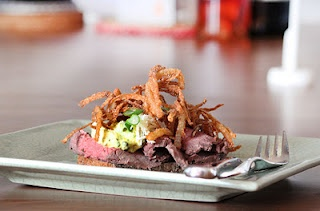 smørrebrød...Danish open-faced sandwich with Roast Beef, Remoulade, and Fried Onions...YUM!