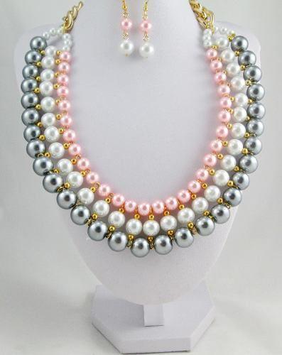 3fe78d360ed9 Set Collar Y Aretes Perla Y Cristal Bisuteria Fina Mayoreo -   125.00 en  Mercado Libre