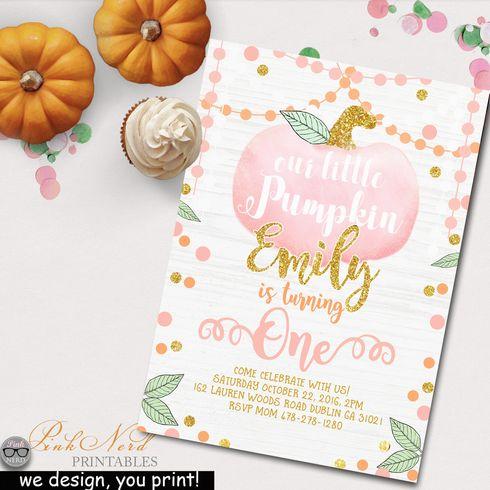 Fall birthday invitation pumpkin glitter and gold printable pink glitter gold… fall birthday invitation