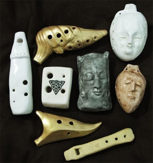 Ocarinas & flute from Ceramics by Geoffrey Tjakra