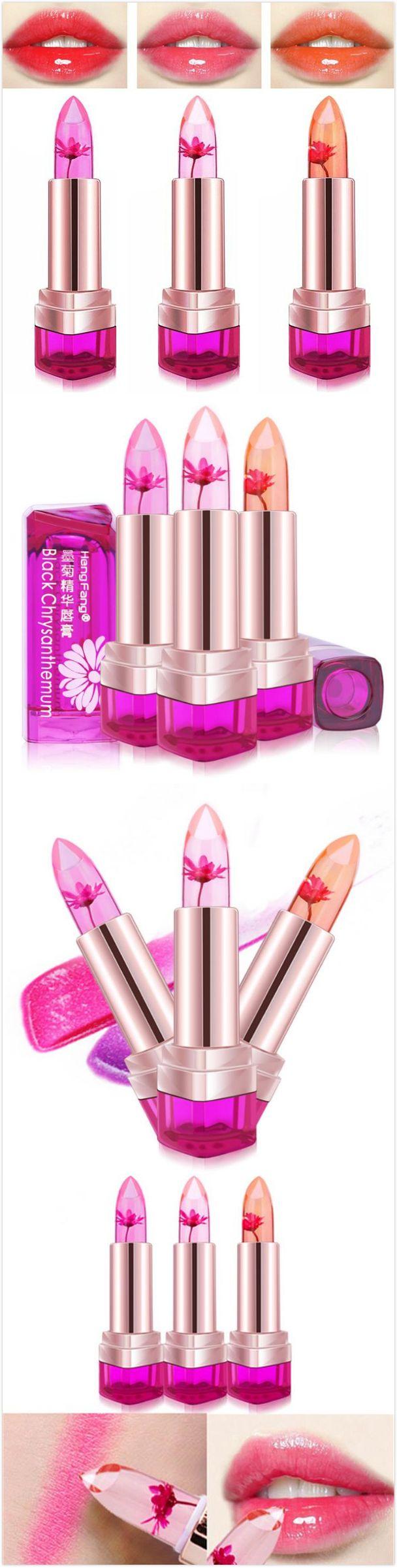 [$ 6.66]  3 Colors Jelly Flower Temperature Change Lipstick Lip Gloss Balm Moisturizing No Fade Nonstick