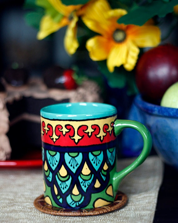 Teal Green & Red Talavera Style Mug/Coffee Cup  by TheTikiQueen, $24.95