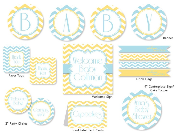 yellow blue chevron baby shower decorations printable party package
