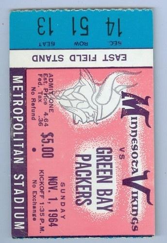 November 1 1964 Vikings Packers Ticket Stub | eBay