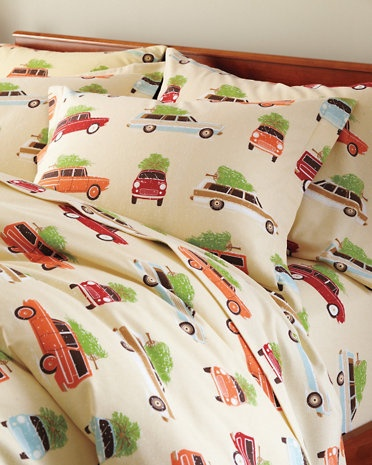 Holiday Road Trip Flannel Bedding, Garnet Hill...love this! Never been much for themed bedding, but this is too cute.