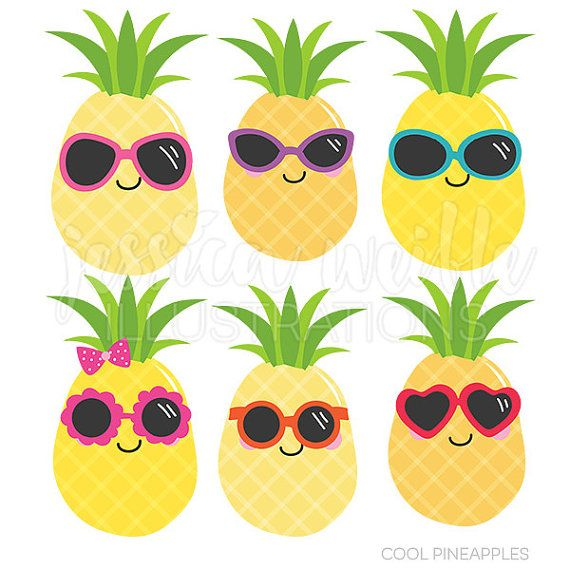 Cool Pineapples Cute Digital Clipart Commercial by JWIllustrations