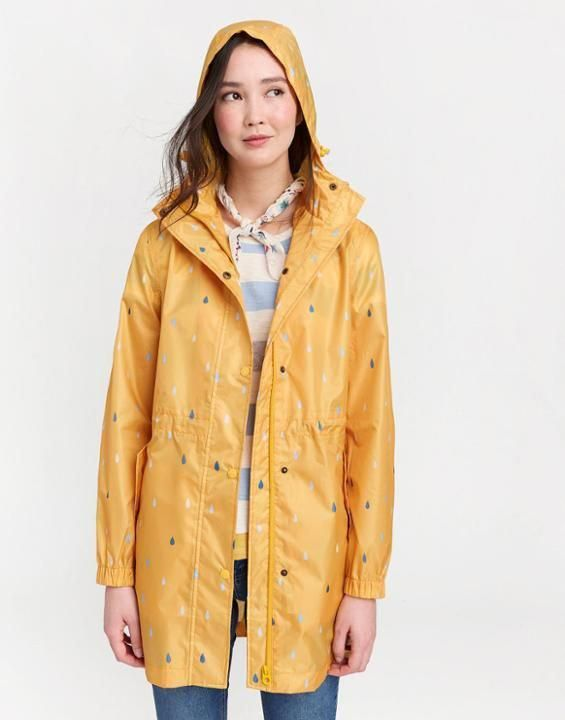 ef62332ae Joules US Golightly Printed Womens Waterproof Packaway Jacket ANTIQUE GOLD  RAINDROPS  RaincoatJuniors