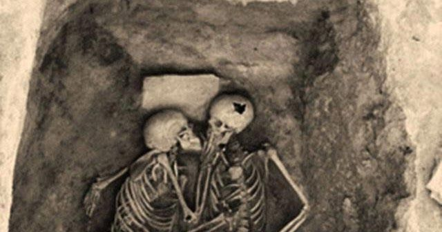 """The """"Hasanlu Lovers """", a pair of entwined skeletons who died together in about 8oo B.C.These skeletons, which represent two persons in emb..."""