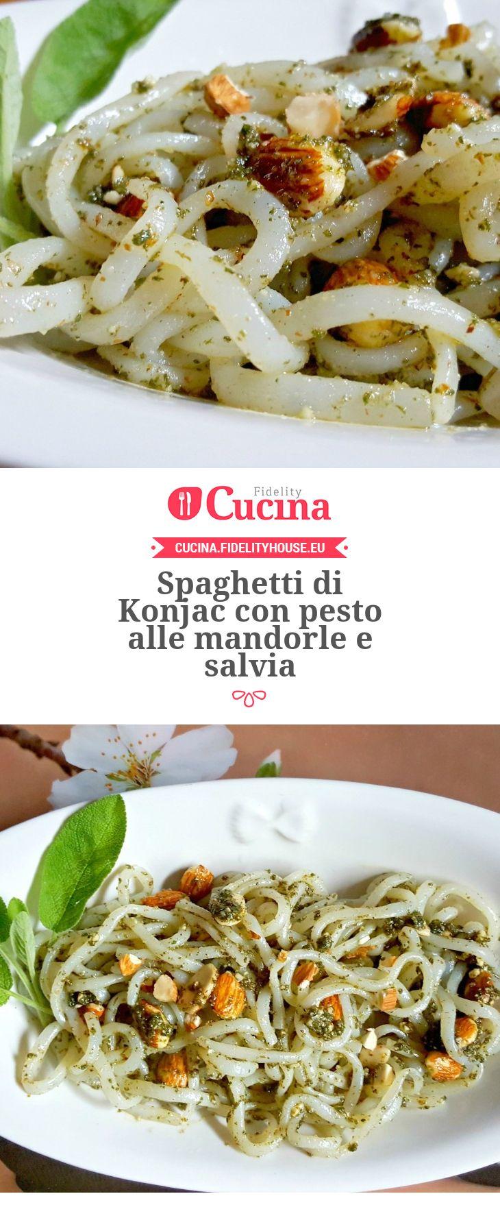Spaghetti di Konjac con pesto alle mandorle e salvia