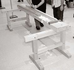 A Japanese Workbench. The trestles are made from 3-1/2″ x 3-1/2″ stock throughout, with an overall height of 23-3/4″ from the floor to the top of each sawhorse. The top is 3-1/2″ thick, 10-1/4″ wide and 8′ long. The working height of the benchtop is 27-1/2″, which is fairly low by modern Western standards.