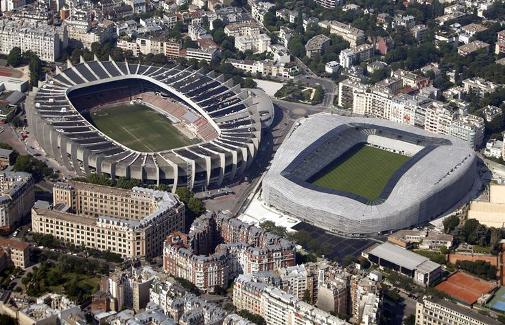 The Parc des Princes stadium (left) and the newly renovated stadium Jean Bouin by architect Rudy Ricciotti, on July 14, 2013. The Parc des Princes hosts soccer matches of French Ligue 1 team Paris St Germain.