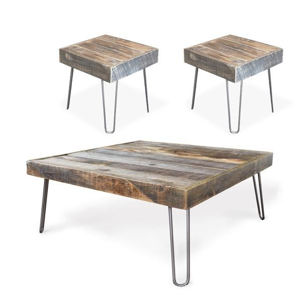 Reclaimed Wood Square Coffee And Two