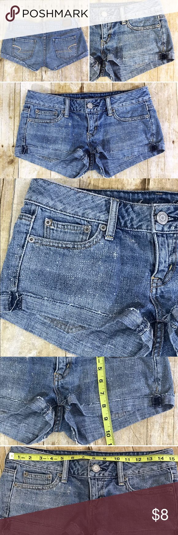 American Eagle Blue Denim Glitter Sparkle Shorts American Eagle Women's Girls Blue Size 2 Glitter Sparkle Shorties Denim Short Shorts Low Rise  Very Good Used Preloved Condition - No visible rips, stains or tears. 100% Cotton American Eagle Outfitters Shorts Jean Shorts