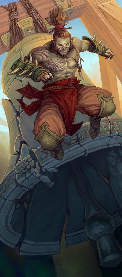 Half-Orc Monk - Pathfinder PFRPG DND D&D d20 fantasy